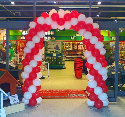 ballonport ballon port skilt skiltefabrikken balloner rød hvid åbning maxizoo