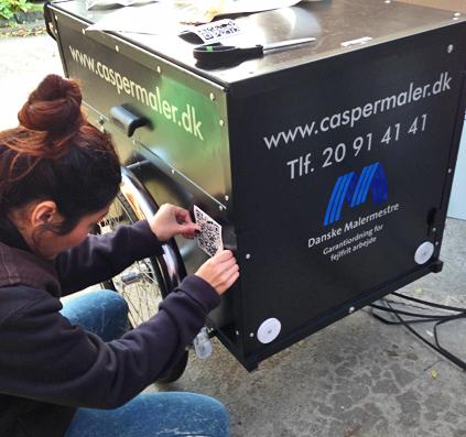 montering folie logo cykel skilt skiltefabrikken reklame københavn maler casper caspermaler danske malermestre