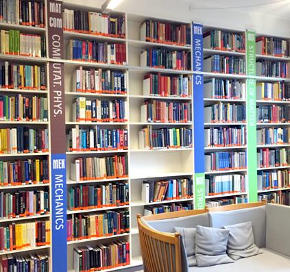 Skiltning til bibliotek på Niels Bohr Instituttet