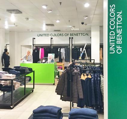 united colors of benetton acryl bogstaver opsat i magasin monteret af skiltefabrikken østerbro københavn